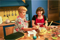 Holly cooks on Greek TV in Athens, Greece with Vefa Alexiadou, the Julia Child of Greece